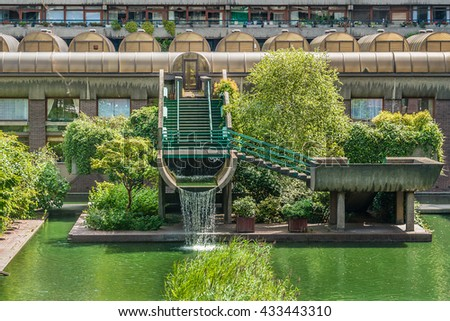 LONDON, UK - AUGUST 11, 2014: The Barbican Center (1982) is a largest performing arts centre in the Europe. Barbican Centre, designed by Chamberlin, Powell and Bon in the famous Brutalist style.