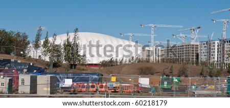 LONDON, UK-AUGUST 29: The Olympic Basketball Stadium Under Construction Ready For The 2012 Olympic games Which Will Be Held In The City Of London, August 29, 2010