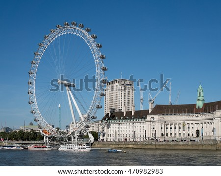 LONDON/UK - AUGUST 15 : View of the London Eye in London on August 15, 2016