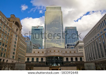 LONDON, UK - CANARY WHARF,  MARCH 22, 2014: Carbot square, West India avenue, biggest business district in London, View on Canada tower