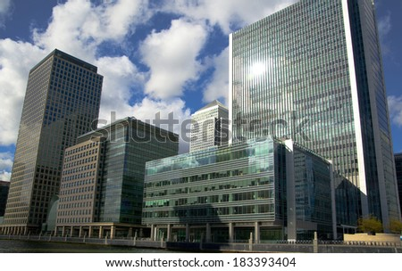LONDON, UK - CANARY WHARF,  MARCH 22, 2014: Modern glass buildings of the biggest business district in London