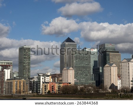 london,UK-Canary Wharf office buildings.  taken 22/02/2014 - stock photo