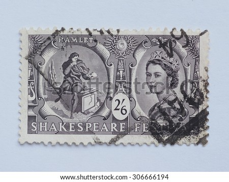 LONDON, UK - CIRCA 2015: A stamp printed by United Kingdom shows Hamlet and Her Majesty the Queen Elizabeth II - stock photo