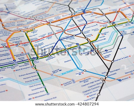 LONDON, UK - CIRCA APRIL 2016: Detail of the tube map with selective focus on District, Circle, Piccadilly and Victoria lines