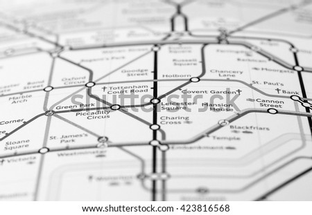 LONDON, UK - CIRCA APRIL 2016: Detail of the tube map with selective focus on Piccadilly Circus, Leicester Square and Covent Garden stations in black and white