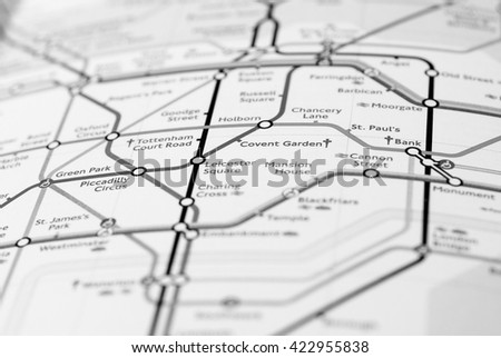 LONDON, UK - CIRCA APRIL 2016: Detail of the tube map with selective focus on Piccadilly Circus and Covent Garden stations in black and white