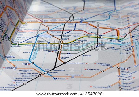 LONDON, UK - CIRCA APRIL 2016: Detail of the tube map with selective focus on Southwark, Waterloo, Lambeth North and Borough stations