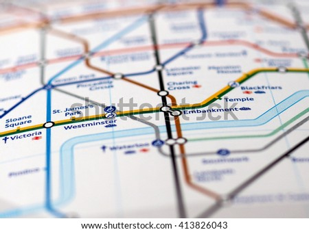 LONDON, UK - CIRCA APRIL 2016: Detail of the tube map with selective focus on Westminster, Embankment, Victoria stations