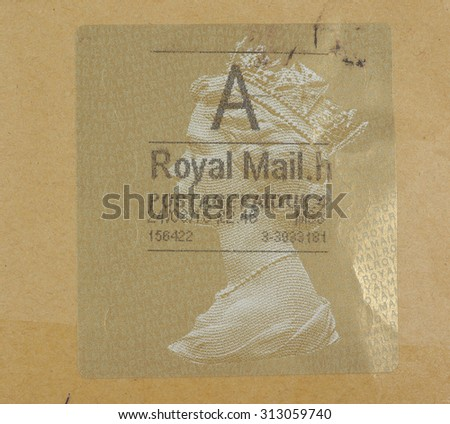 LONDON, UK - CIRCA AUGUST, 2015: A stamp printed by United Kingdom mail services shows Her Majesty the Queen Elizabeth II - stock photo