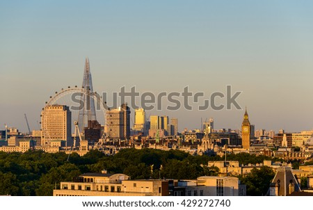 LONDON, UK - CIRCA AUGUST 2013: London at sunset as seen from the Park Tower Knightsbridge. - stock photo
