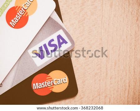 LONDON, UK - CIRCA AUGUST 2015: MasterCard and Visa credit cards vintage - stock photo