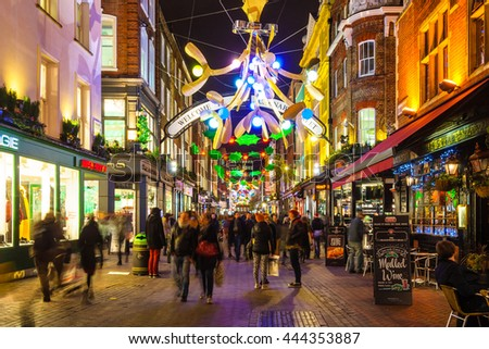 LONDON, UK - CIRCA DECEMBER 2011: Christmas decoration at Carnaby Street.