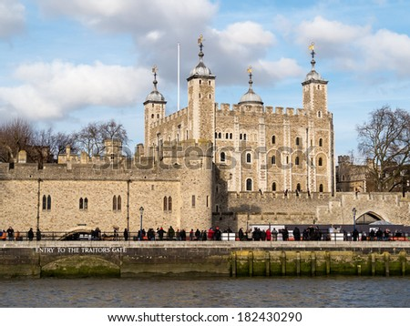 LONDON UK CIRCA FEBRUARY 2014 - View of the Tower of London