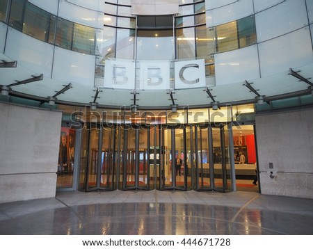 LONDON, UK - CIRCA JUNE 2016: BBC Broadcasting House headquarters of the British Broadcasting Corporation in Portland Place - stock photo