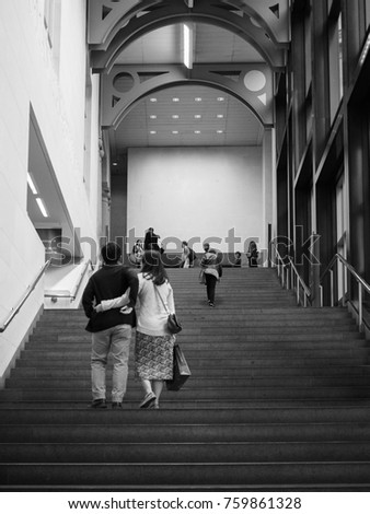 LONDON, UK - CIRCA JUNE 2017: The National Gallery in Trafalgar Square in black and white