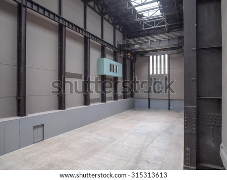 LONDON, UK - CIRCA JUNE, 2011: The Turbine Hall which once housed the electricity generators of the power station is now a huge open public space part of Tate Modern art gallery in South Bank