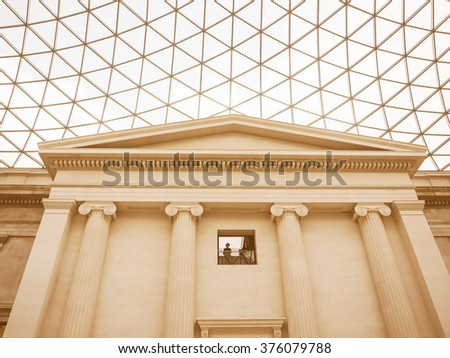 LONDON, UK - CIRCA MARCH, 2009: The Great Court at the British Museum designed by architect Lord Norman Foster opened in year 2000, vintage