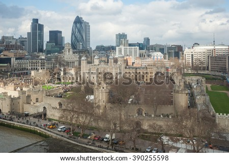 London, UK - circa March 2012: View of Tower and City of London