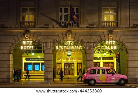 LONDON, UK - CIRCA NOVEMBER 2011: The Ritz hotel at night. - stock photo