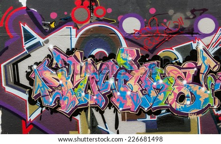 LONDON, UK / CIRCA OCTOBER 2014 - Graffiti made by unknown artists on Leake Street public gallery - stock photo