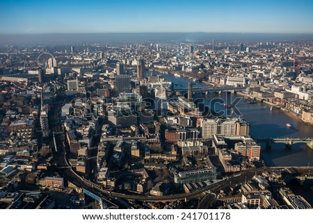 LONDON, UK - DEC 29: Aerial view of central and west London as seen from The View from the Shard, London's highest view point in London on December 29, 2014 - stock photo
