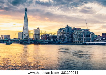 LONDON, UK - DECEMBER 19,  2015: City of London, Shard and  view of the River Thames In LONDON.  - stock photo