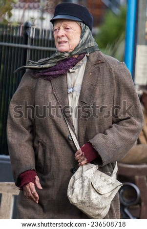 LONDON, UK - DECEMBER 05:Maggie Smith is spotted filming in Margate on the November, 2014 in Margate, UK - stock photo