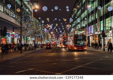 LONDON, UK - December 6, 2016: Oxford street decorated with Christmas lights in London.
