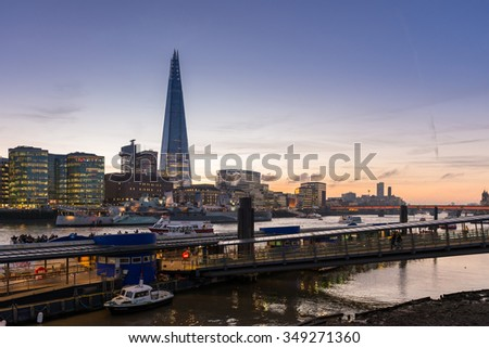LONDON, UK - December 7, 2015: Southwark and Shard building seen from Tower of London in London, UK. - stock photo