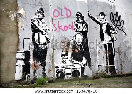 LONDON, UK - DECEMBER 31ST 2007: Banksy's 'Pensioner Thugs' Graffiti in London on 31st December 2007.