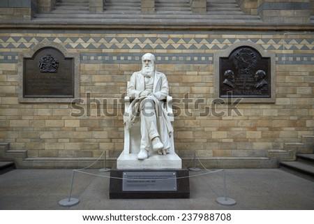 LONDON, UK - DECEMBER 11: Statue of Charles Darwin at the Natural History Museum. December 11, 2014 in London. - stock photo