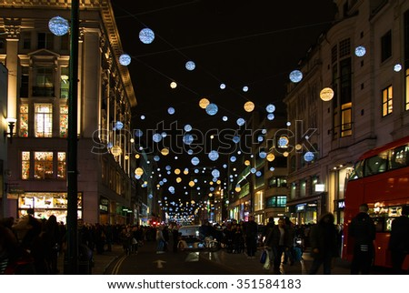 LONDON, UK - DECEMBER 5TH 2015: A view of a busy Oxford Street during the lead up to Christmas in London, on 5th December 2015.