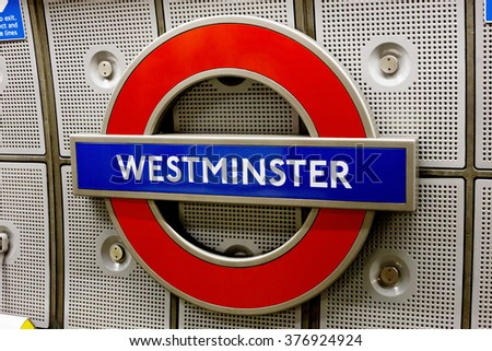 LONDON, UK - DECEMBER 15, 2014: Underground Westminster tube station in London . The London Underground is the oldest underground railway in the world covering 402 km of tracks. - stock photo