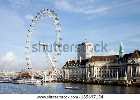 LONDON, UK - DECEMBER 15: View of The London Eye on December 15, 2012 in LONDON, UK. At a height of 135m, it is the tallest Ferris wheel in Europe. - stock photo