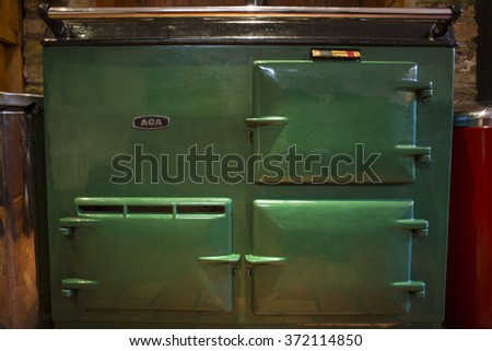 LONDON, UK - FEB 02, 2016: AGA cooker, an heat storage stove and double cooker. It works on the principle that iron components can absorb and accumulate heat can then be used when needed for cooking. - stock photo