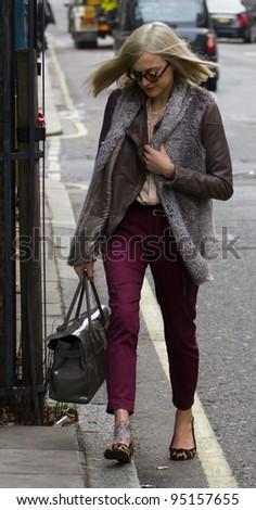 LONDON, UK - FEB. 14: Fearne Cotton leaves the BBC Radio 1 Studios in London on the Feb 14, 2012 in London, UK