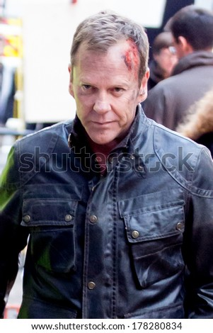 LONDON, UK - FEB 01:Keifer Sutherland is spotted filming scenes from US drama 24 in London on the Feburary, 2014 in London, UK - stock photo