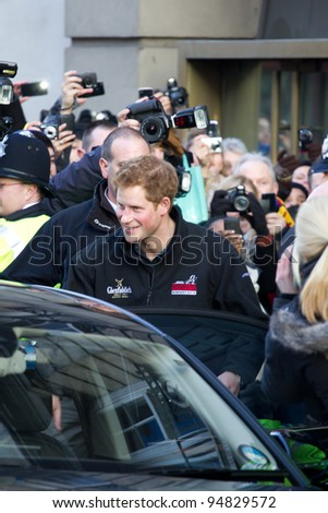LONDON, UK - FEB. 10: Prince Harry leaves the BAFTAS office in London on the Feb 10, 2012 in London, UK