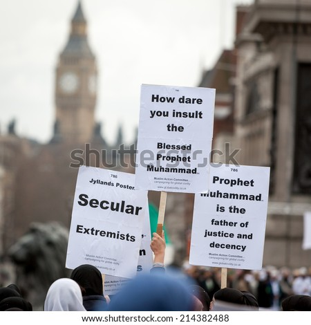 London, UK - February 18, 2006: A public demonstration in London's Trafalgar Square as Muslims react against the controversial cartoons in a Danish newspaper. - stock photo