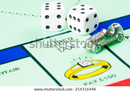 LONDON,UK - FEBRUARY 11, 2015 : Dice and token next to the SUPER TAX space in a Monopoly game board - stock photo