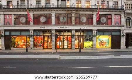 LONDON, UK - February15 2015:Hamleys toy store on Regent St london England most famous toy store