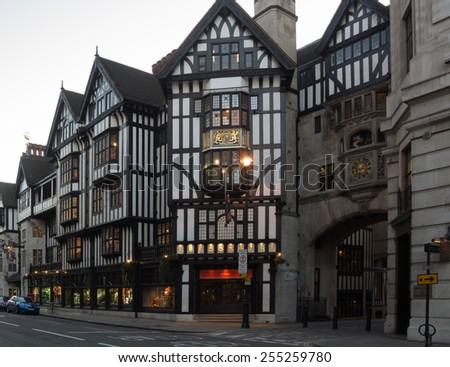 LONDON, UK - February15 2015:Liberty 's shop the historic high class department store in london's west end - stock photo