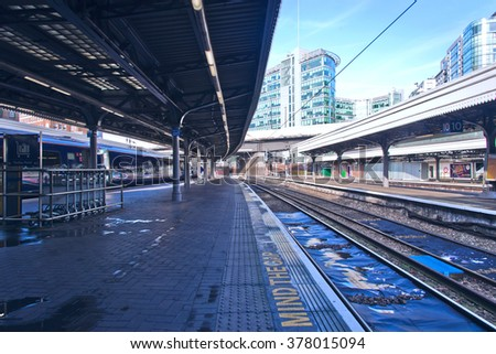 LONDON,UK-FEBRUARY 14,2016:Paddington Station is one of London's busiest and most important rail transport hubs. - stock photo