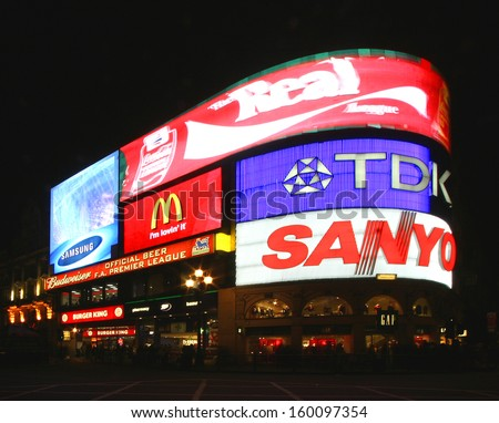 """LONDON, UK - FEBRUARY 20: Piccadilly Circus in London displaying """"Countdown to London"""" Dec 20 2005, referring to the upcoming Olympics to be held in the city.  - stock photo"""