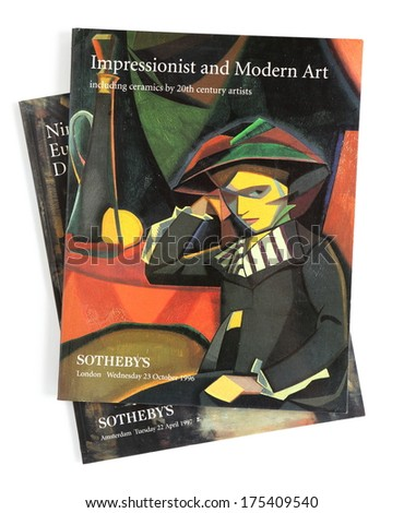 LONDON, UK - FEBRUARY 07, 2014:Sotheby's auction catalogue, published by Sotheby's Holdings, Inc, on October 23, 1996. Sotheby's is one of the world's largest brokers of fine and decorative art. - stock photo