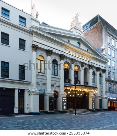 LONDON, UK - February 22  2015:The Palladium theater in londons west end - stock photo