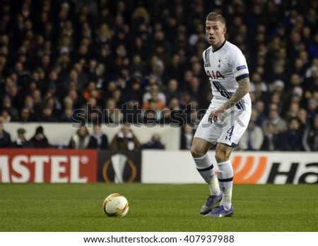 LONDON, UK - FEBRUARY 25, 2016: Toby ALderweireld of Tottenham pictured in action during the UEFA Europa League last 32 game between Tottenham Hotspur and AC Fiorentina on White Hart Lane. - stock photo