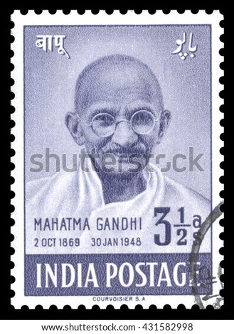 London, UK, February 5 2012 - Vintage 1948 India cancelled airmail, postage stamp showing an engraved image of Mahatma Gandhi, issued to celebrate the first anniversary of India independence