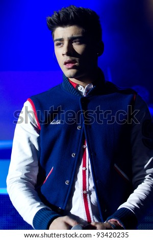 LONDON, UK - JAN. 23: Zane Malik From One Direction Play the Apollo in London on the January 23, 2012 in London, UK - stock photo
