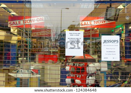 LONDON, UK - JANUARY 12: Jessops camera store on High Street Putney  is definitely closed on January 12, 2013 in London. Jessops went into administration on Friday 11th January 2013. - stock photo